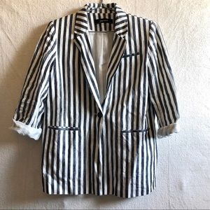 Zara linen blazer white denim navy stripes